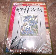 FEN SHUI IRISES  Design Works Cross Stitch Greetings Card Cross Stitch Kit