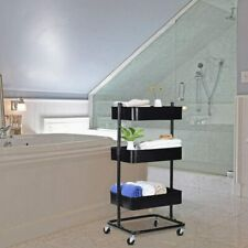 Household 3-Tier Metal Rolling Cart Storage Utility Cart for Kitchen Office B HG