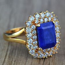 Blue Sapphire & White Topaz 925 sterling silver Rose Gold Plated Ring size 7.5