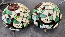 A PAIR OF BEAUTIFUL TIFFANY STYLE STAINED GLASS ROSE CEILING LAMP SHADES