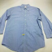Brooks Brothers 346 Mens Oxford Shirt Blue Stripe Button Down Collar 16 1/2 2/3