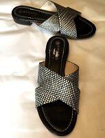 "Studio Isola Women's Shoes Black Silver Open Toe Slide Sandals 1"" Heel Size 8.5"