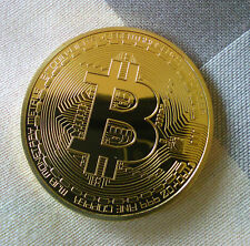Original Gold Plated Physical Bitcoin With Protective Acrylic Case FREE SHIPPING