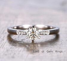 White Gold Wedding Diamond Band 6-Prong 5mm Round Moissanite Engagement Ring 14K