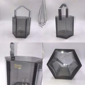 🌟Vintage MCM Wedgewood Lead Crystal Grey Smoked Glass Ice Bucket Chrome Handle