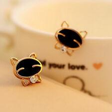 Women Cute Smile Kitty Cat Hello Kitty Earrings Black Gold Silver Plated Earring