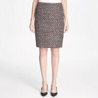 Calvin Klein Textured Metallic Tweed Straight Skirt Size 6, Black/Red