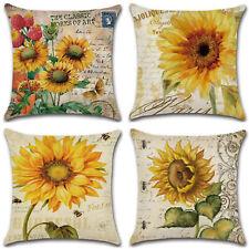 Sunflower Cotton Linen Pillow Case Waist Throw Sofa Cushion Cover Bedroom Decor