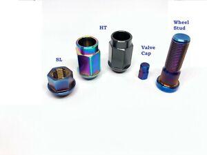 Titanium M14x1.5 Lug nuts, wheel studs, valve stem caps for Tesla Model S 3 X Y