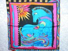 New 100% Charmeuse Silk Scarf Bandana Blue Horses