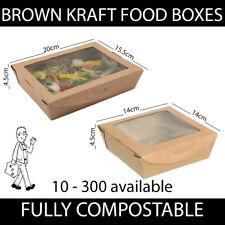 More details for brown kraft cardboard food boxes window hinge lid takeaway salad compostable