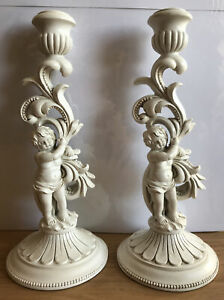 M&S Home Pair Of White Distressed look Resin Cherub Dinner Candlestick Holders