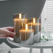 Authentic Flame Battery Flickering LED Candle Lights Glass Jar Wax | Indoor