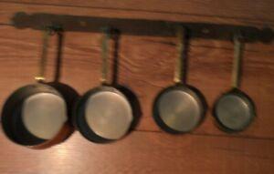 set of 4 copper pans and hanger antique retro kitsch kitchenalia decor