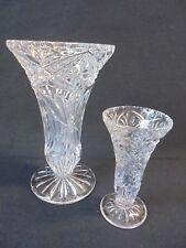 GLAS-KRISTALLVASEN - BLUMENVASEN --VASEN - 2 STÜCK - 1950/60er JAHRE