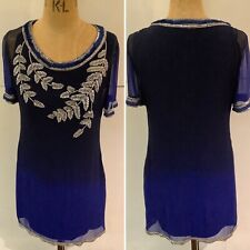 Preloved - Matthew Williamson Blue & Navy Beaded Silk Dress  - Sz 10
