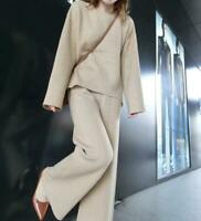 Winter Women Cashmere Knitted Crew Neck Sweater Wide-leg Pants 2Pcs Casual Suits
