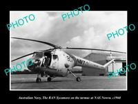 8x6 HISTORIC PHOTO OF AUSTRALIAN NAVY SYCAMORE HELICOPTER AT NAS NOWRA c1960