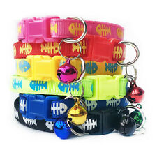 Fish Bones Patterned Adjustable Kitten Cat Collar With Bell And Snap Buckle