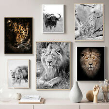 Wild Animal Lion leopard Poster Nordic Canvas Print Black White Wall Art Decor