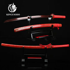 Full Tang Sword, Handmade Real Japanese Katana Sword Sharp Pattern Steel (red)