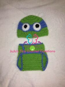 Crocheted Baby Turtle Hero Outfit Photo Prop Halloween Costume Baby Shower Gift