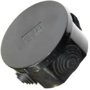 Black Waterproof Round Junction Box 80 x 40 IP44 PVC Adaptable Box with Grommets