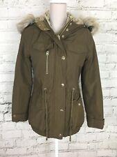 Topshop Women's Coat Long Sleeve Hooded Winter Faux Fur Lining Khaki UK 6 US 2