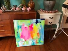 Original ABSTRACT ~MODERN ART ~ PAINTING~signed by artist~RETRO~FUNKY