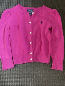 100 % Authentic Ralph Lauren Pink 100% Wool Sweater Cardigan Girls 4 Years
