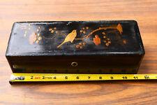 Vintage Old Black Box Asian Wood Old Unique lacquer Patina Steam Decor Props Bk