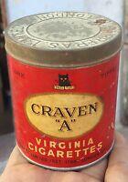 """VINTAGE RARE CRAVEN """"A"""" VIRGINIA CIGARETTES ROUND TIN BOX"""