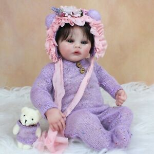 45cm Finished Reborn Baby Dolls 3D Paint Marble Skin Rooted Hair Toddler Gifts