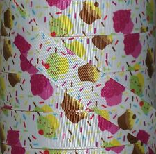 "5 yards 7.8"" SWEET TREATS CUPCAKE SPRINKLES PARTY GROSGRAIN RIBBON HAIRBOW BOW"