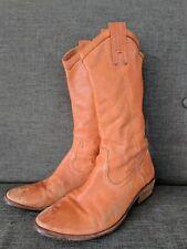 Women's FRYE Boots 8.5 Orange Leather Western Cowboy Mid Calf