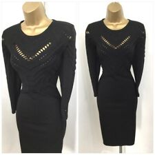 KAREN MILLEN L - UK 14-16 BLACK FINE KNIT BODYCON JUMPER DRESS