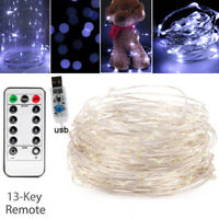 Remote Control Fairy Lights USB Led String Lamp Dimmable 8 Modes Home Decor