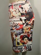 Retro Media Vintage Ads Stretch Pencil Skirt Size L 12 New