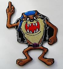TAS DEVIL BIKER FINGER IRON ON EMBROIDERED PATCH 9.5CM X 7CM MOTOR BIKE MC