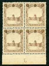 China 1937 Manchukuo ½ fen Definitive (Scott 83) Plate #3 Margin Block MNH X597