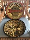 2 Vintage Arrow Beer American Can Metal Tray Globe Brewery Baltimore Chicago