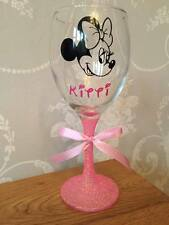 Personalised Glitter Wine Glass Minnie  Mouse - Birthday , 18th 21st 30th 40th
