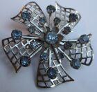 broche bijou vintage fleur relief cristaux facettes bleu couleur argent * 2711
