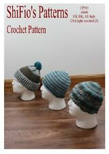 CROCHET PATTERN for MENS HATS BEANIE Striped Ribbed #333 NOT CLOTHES