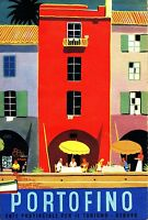 Portofino Italy  Vintage Illustrated Travel Poster art painting Print on canvas