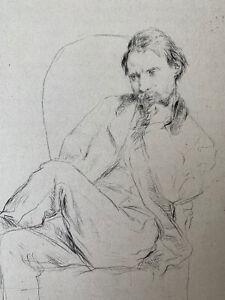 Marcellin Desboutin gravure eau forte etching Portrait Du Peintre Auguste Renoir