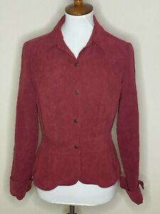Coldwater Creek Petite XS Red Floral Faux Suede Long Sleeve Button Down Top