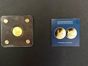 1/500 Oz Springbock 2019 999 Gold Münze 3000 Francs  Tschad