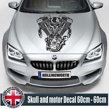 CAR BONNET HOOD Skull and motor  Cars Stickers Funny Graphics Decal