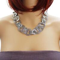Statement Kette aus Edelstahl stylische XXL Halskette silber